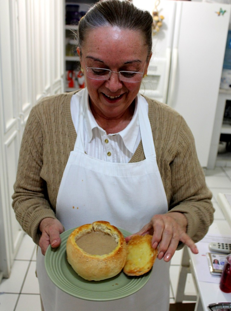Rachel with her delicious pecan chipotle soup--served to us in bread bowls in her home in Chihuahua